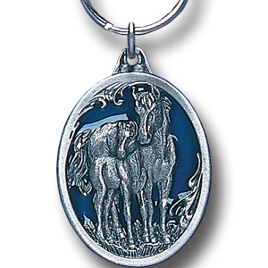 Key Ring - Mare & Foal - Scultped and hand enameled key ring featuring a Mare & Foal emblem.