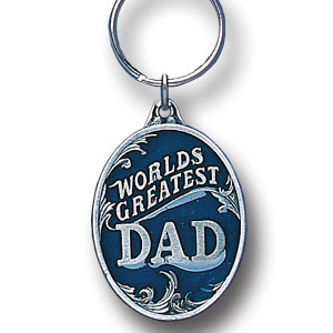 Key Ring - World's Greatest Dad - Scultped and hand enameled key ring featuring a World's Greatest Dad emblem.
