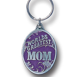 Key Ring - World's Greatest Mom - Scultped and hand enameled key ring featuring a World's Greatest Mom emblem.