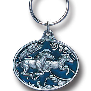 Key Ring - Running Horses - Scultped and hand enameled key ring featuring a Running Horses emblem.