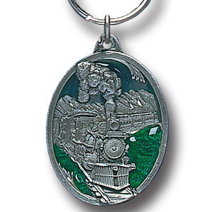 Key Ring - Train Locomotive - Scultped and hand enameled key ring featuring a Train Locomotive emblem.
