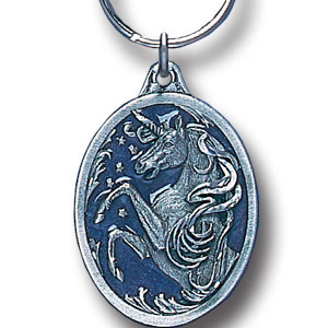 Key Ring - Unicorn - Scultped and hand enameled key ring featuring a Unicorn emblem.
