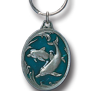 Key Ring - Dolphins - Scultped and hand enameled key ring featuring a Dolphins emblem.