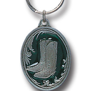 Key Ring - Cowboy Boots - Scultped and hand enameled key ring featuring a Cowboy Boots emblem.