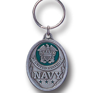 Key Ring - U.S. Navy - Scultped and hand enameled key ring featuring a U.S. Navy emblem.