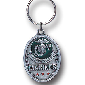 Key Ring - U.S. Marines - Scultped and hand enameled key ring featuring a U.S. Marines emblem.