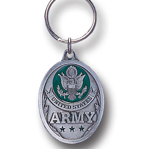 Key Ring - Army - Scultped and hand enameled key ring featuring a Army emblem.