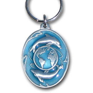 Key Ring - Dolphins and Earth - Scultped and hand enameled key ring featuring a Dolphins and Earth emblem.