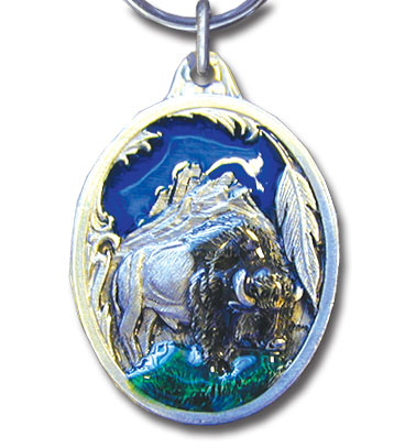 Key Ring - Buffalo - Scultped and hand enameled key ring featuring a Buffalo emblem.