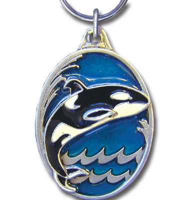 Key Ring - Orca Whale - Scultped and hand enameled key ring featuring a Orca Whale emblem.