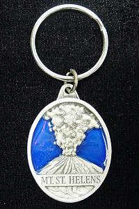 Key Ring - Mt. St. Helens - Scultped and hand enameled key ring featuring a Mt. St. Helens emblem.