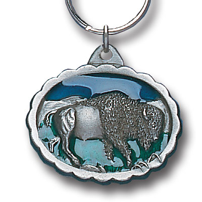 Key Ring - Bison - Scultped and hand enameled key ring featuring a Bison emblem.