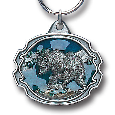 Key Ring - Grizzly  - Scultped and hand enameled key ring featuring a Grizzly  emblem.
