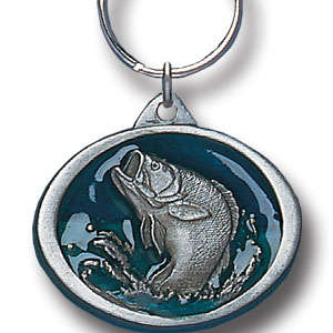 Key Ring - Bass - Scultped and hand enameled fishing key ring featuring a Bass emblem.