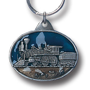 Key Ring - Steam Engine Train - Scultped and hand enameled key ring featuring a Steam Engine Train emblem.