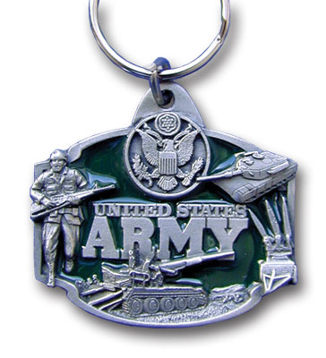 Key Ring - U.S. Army - Scultped and hand enameled key ring featuring a U.S. Army emblem.