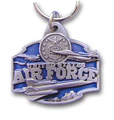 Key Ring - U.S. Air Force - Scultped and hand enameled key ring featuring a U.S. Air Force emblem.