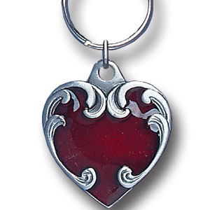 Key Ring - Heart - Scultped and hand enameled key ring featuring a Heart emblem.