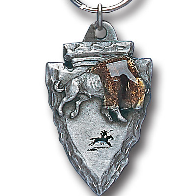 Key Ring - Bison On Arrowhead - Scultped and hand enameled key ring featuring a Bison On Arrowhead emblem.