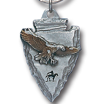 Key Ring - Eagle On Arrowhead - Scultped and hand enameled key ring featuring a Eagle On Arrowhead emblem.