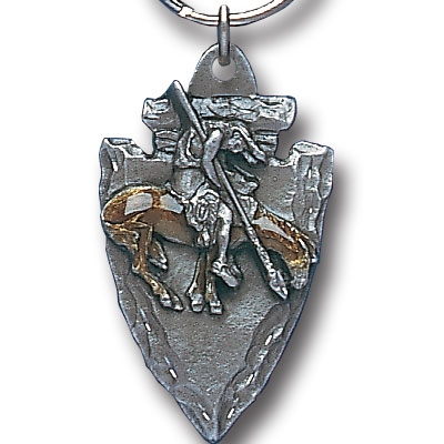 Key Ring - End of the Trail On Arrowhead - Scultped and hand enameled key ring featuring a End of the Trail On Arrowhead emblem.