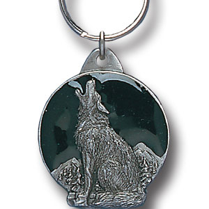 Key Ring - Wolf - Scultped and hand enameled key ring featuring a Wolf emblem.