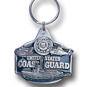 Key Ring - U. S. Coast Guard - Scultped and hand enameled key ring featuring a U. S. Coast Guard emblem.