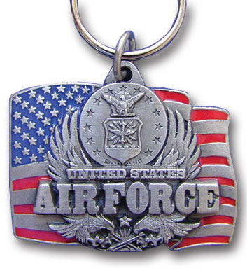 Key Ring - Air Force - Scultped and hand enameled key ring featuring a Air Force emblem.