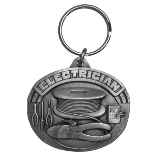 Electrician Key Ring Plain - Scultped and hand enameled key ring featuring a Electrician Key Ring Plain emblem.