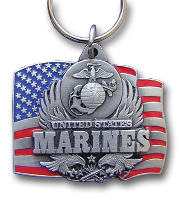 Key Ring - Marines - Scultped and hand enameled key ring featuring a Marines emblem.