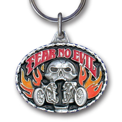 Key Ring - Fear No Evil - Scultped and hand enameled key ring featuring a Fear No Evil emblem.