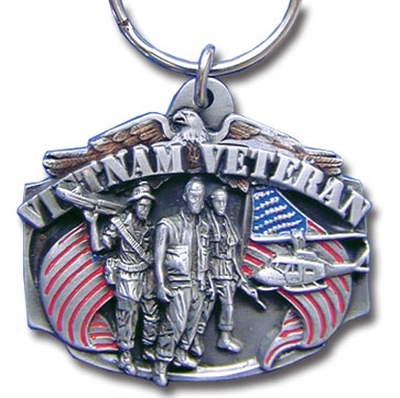 Key Ring - Vietnam Veteran - Scultped and hand enameled key ring featuring a Vietnam Veteran emblem.