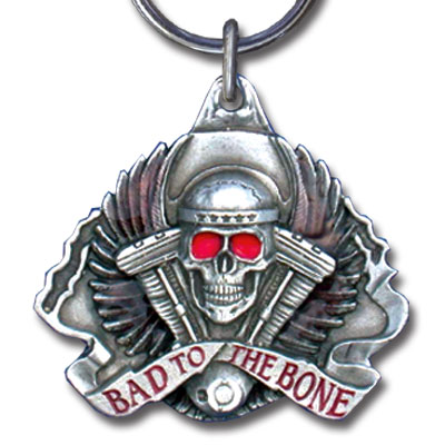 Key Ring - Bad To The Bone - Scultped and hand enameled key ring featuring a Bad To The Bone emblem.