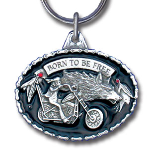 Key Ring - Born to be Free - Scultped and hand enameled key ring featuring a Born to be Free emblem.
