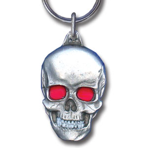 Key Ring - Skull - Scultped and hand enameled key ring featuring a Skull emblem.