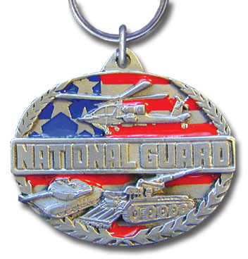 Key Ring - National Guard - Scultped and hand enameled key ring featuring a National Guard emblem.