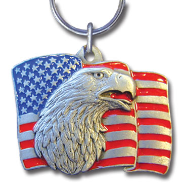 Key Ring - Eagle/American Flag - Scultped and hand enameled key ring featuring a Eagle/American Flag emblem.