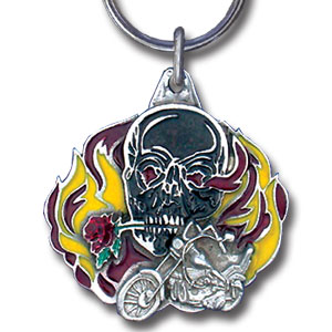 Key Ring - Flaming Skull - Scultped and hand enameled key ring featuring a Flaming Skull emblem.
