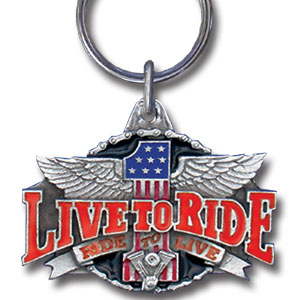 Key Ring - Live To Ride - Scultped and hand enameled key ring featuring a Live To Ride emblem.