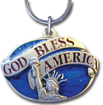 Key Ring - God Bless America - Scultped and hand enameled key ring featuring a God Bless America emblem.