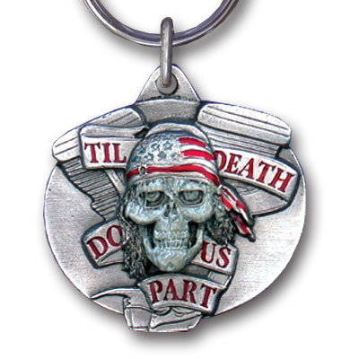 Key Ring - Til Death Do Us Part - Scultped and hand enameled key ring featuring a Til Death Do Us Part emblem.