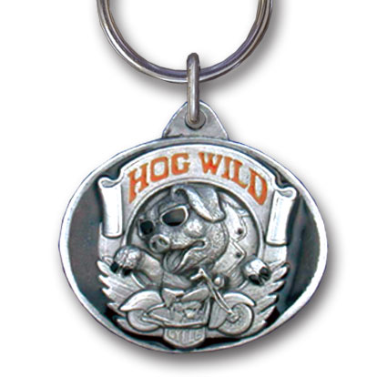 Key Ring - Hog Wild - Scultped and hand enameled key ring featuring a Hog Wild emblem.