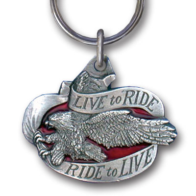 Key Ring - Live to Ride II - Scultped and hand enameled key ring featuring a Live to Ride II emblem.