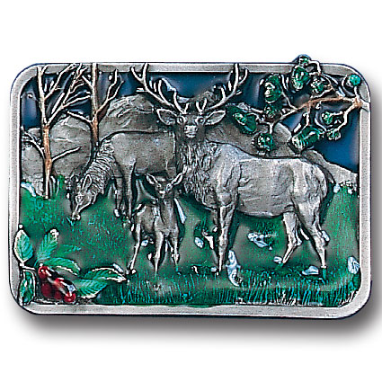 Belt Buckle - Elk Scene  - This finely sculpted and hand enameled belt buckle contains exceptional 3D detailing. Siskiyou's unique buckle designs often become collector's items and are unequaled with the best craftsmanship.