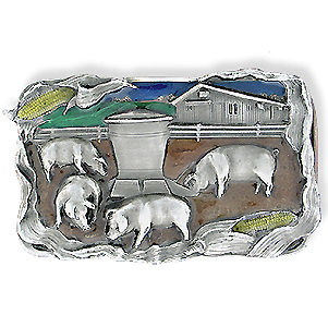 Belt Buckle - Pig Farm  - This finely sculpted and hand enameled belt buckle contains exceptional 3D detailing. Siskiyou's unique buckle designs often become collector's items and are unequaled with the best craftsmanship.