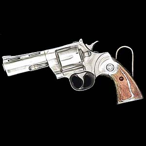 Belt Buckle - Revolver - This finely sculpted and hand enameled belt buckle contains exceptional 3D detailing. Siskiyou's unique buckle designs often become collector's items and are unequaled with the best craftsmanship.