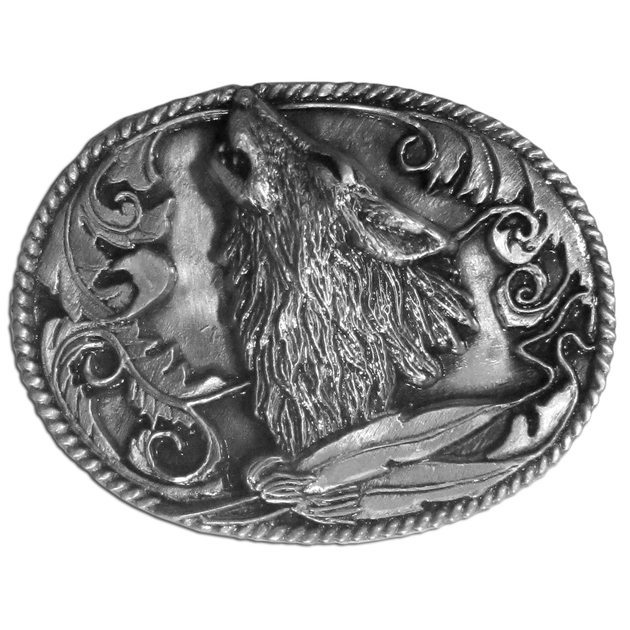 Howling Wolf Antiqued Belt Buckle - Finely sculpted and intricately designed belt buckle features a wolf howling with feathers, Western design detail and rope surrounding it. Our unique designs often become collector's items.