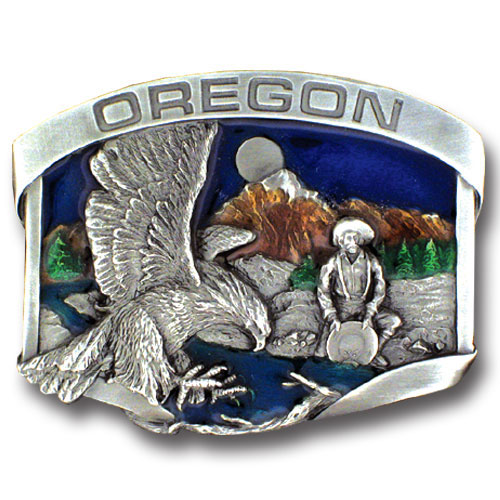 Belt Buckle Oregon Gold miner - This finely sculpted and hand enameled belt buckle contains exceptional 3D detailing. Siskiyou's unique buckle designs often become collector's items and are unequaled with the best craftsmanship.