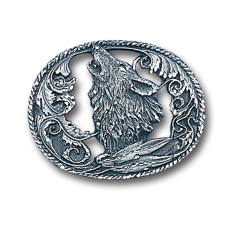 Belt Buckle - Howling Wolf - This finely sculpted and diamond cut and cutout  belt buckle contains exceptional 3D detailing. Siskiyou's unique buckle designs often become collector's items and are unequaled with the best craftsmanship.