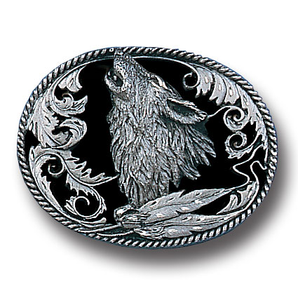Belt Buckle - Howling Wolf (Diamond Cut) - This finely sculpted belt buckle contains exceptional 3D detailing and diamond cut accents. Siskiyou's unique buckle designs often become collector's items and are unequaled with the best craftsmanship.
